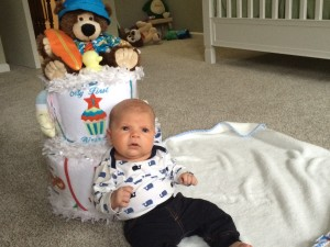 Baby Reid with his Silly Phillie My First Holiday's Diaper Cake baby gift
