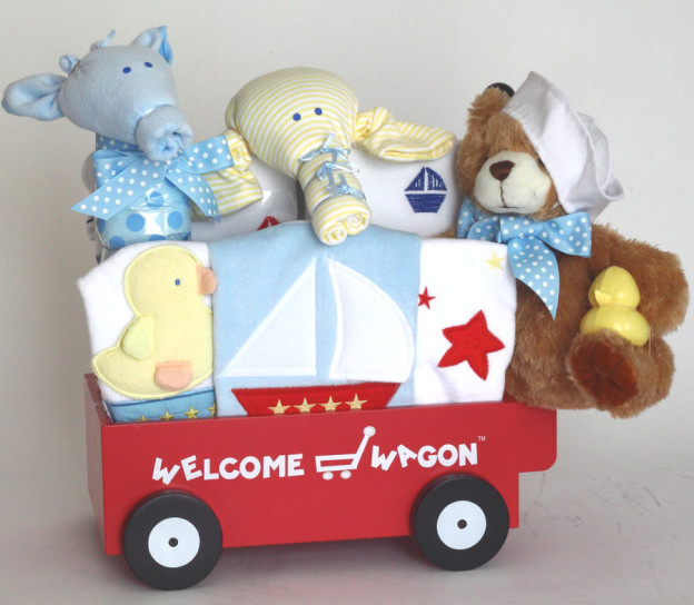 Customized baby gifts from Silly Phillie- Nautical themed Welcome Wagon