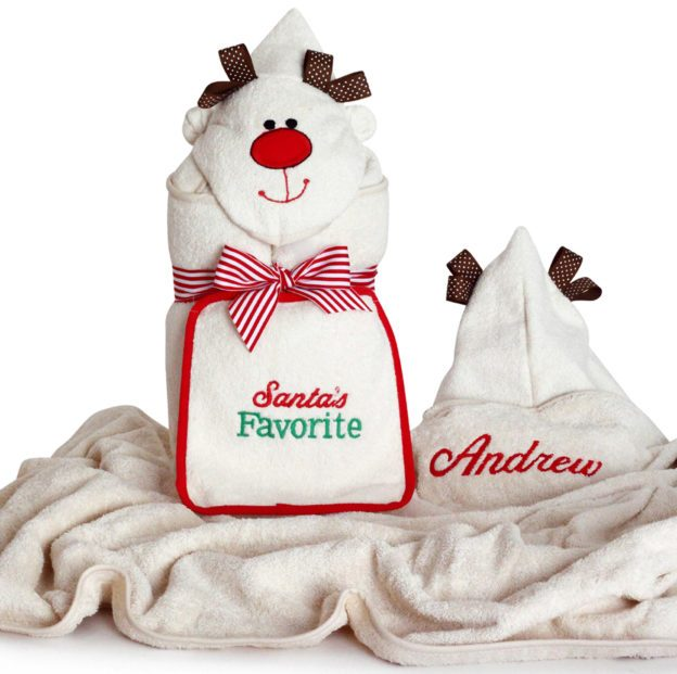 Personalized Reindeer character hooded towel by Silly Phillie