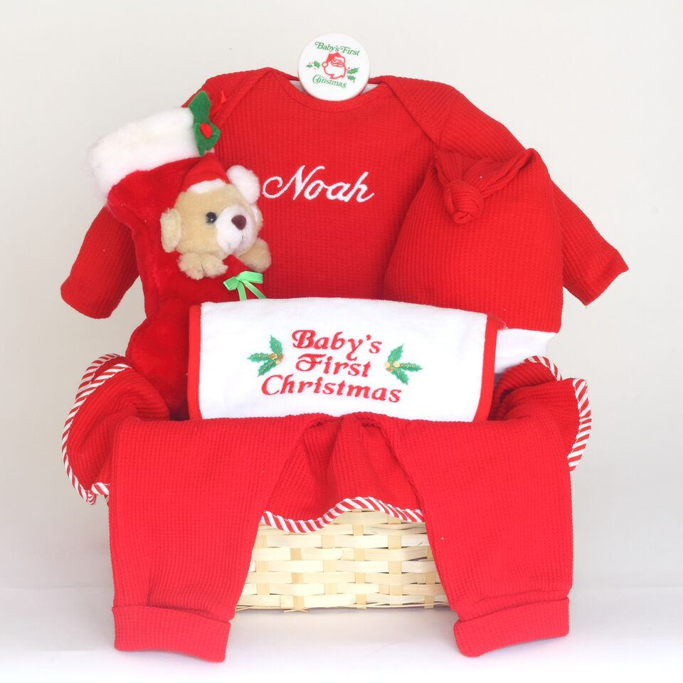 Baby gift baskets unique baby gifts by silly phillie babys first christmas personalized gift basket negle Images