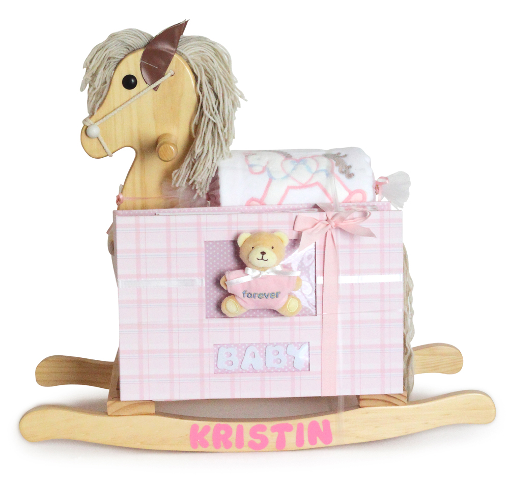 Personalized Natural Rocking Horse Baby Girl Gift By Silly Phillie