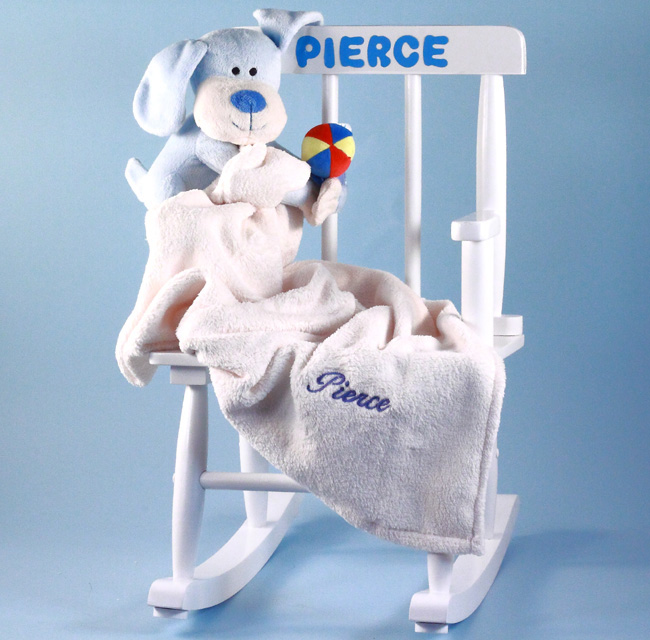 Baby boy gift personalized rocking chair by silly phillie personalized rocking chair baby gift with baby blanket plush toy negle Choice Image
