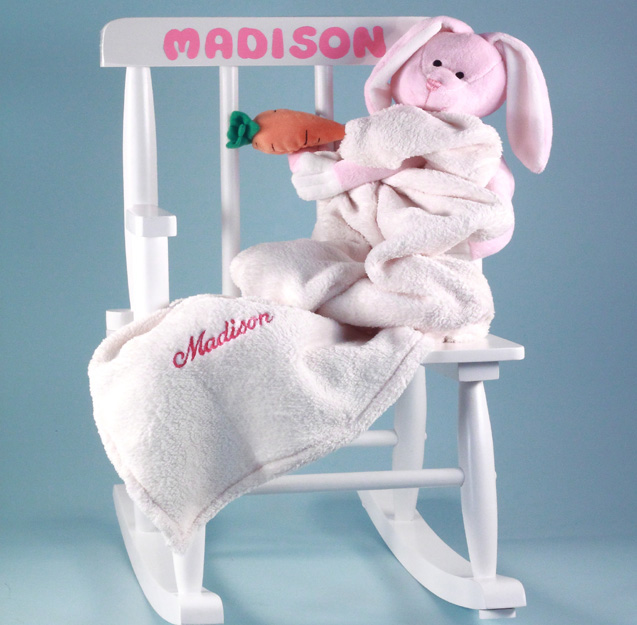 Baby girl gift personalized rocking chair by silly phillie rocking chair personalized baby gift with baby blanket plush toy negle