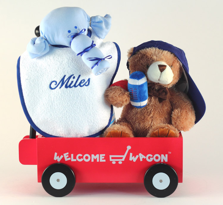 Personalized baby gift deluxe welcome wagon welcome wagon personalized baby boy gift with bib plush bear onsie more negle Images