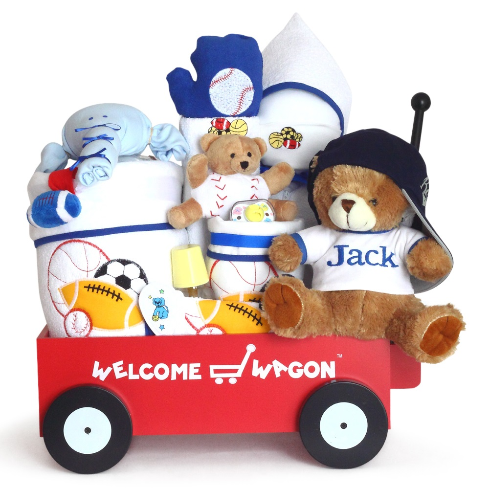 Deluxe personalized welcome wagon baby boy gift by silly phillie deluxe welcome wagon personal baby boy gift negle Images