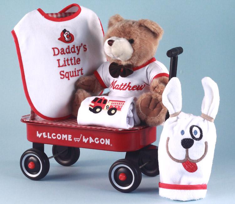 baby boy gift fireman themed welcome wagon