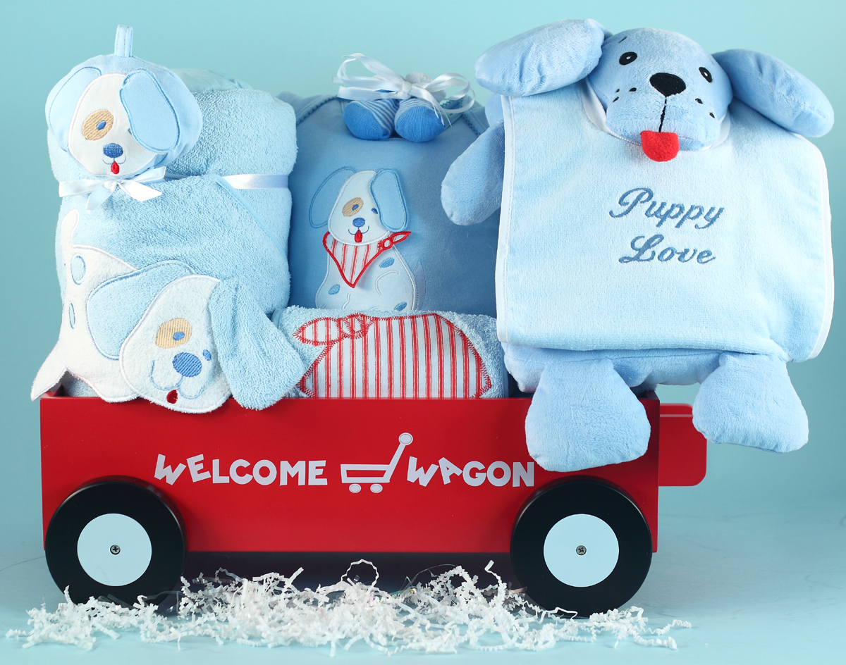 Baby Boy Gift Puppy Deluxe Welcome Wagon