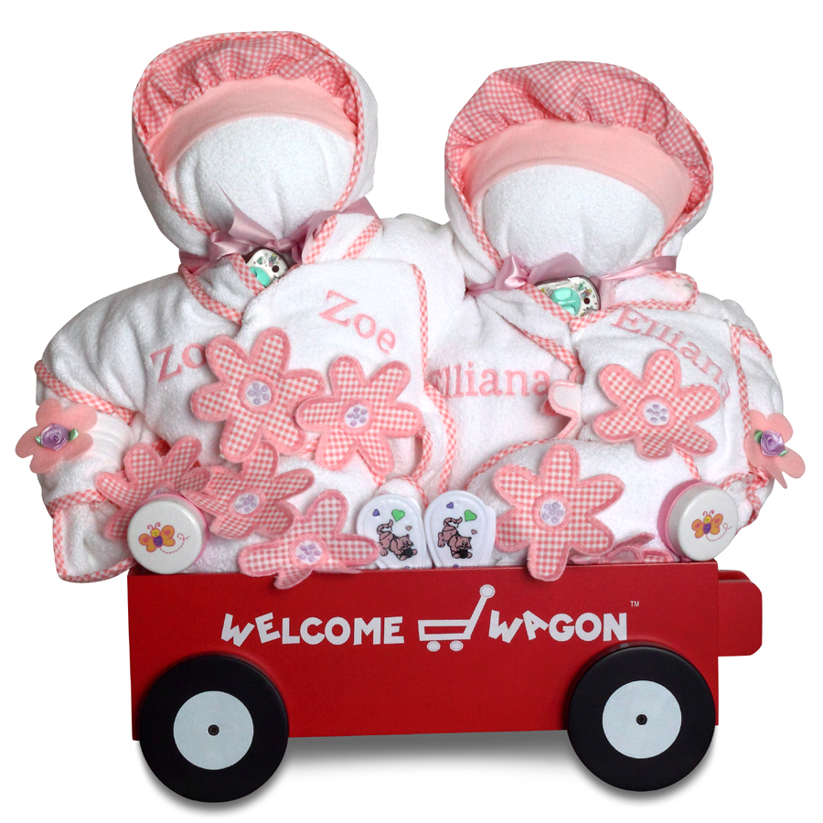 Gift for twin girls personalized deluxe welcome wagon gift for twins deluxe welcome wagon personalized baby girl gift negle Choice Image