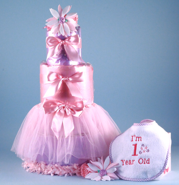 1st Birthday Diaper Cake Baby Girl Gift Silly Phillie
