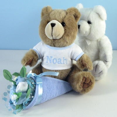 Bear bouquet personalized baby gift baby boy gifts new baby gift featuring a layette bouquet and personalized plush bear negle Images