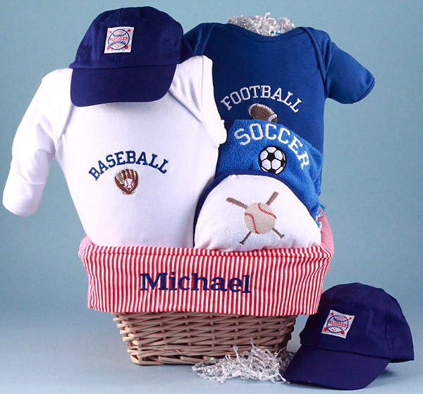 Personalized baby gift basket little sport by silly phillie little sport baby gift basket personalized negle Choice Image