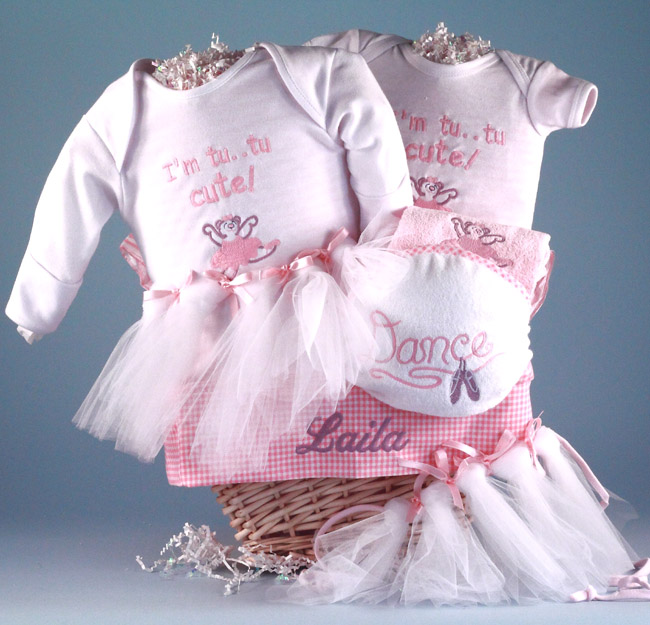 Personalized baby gift basketfuture ballerina by silly phillie future ballerina baby gift basket personalized negle Images