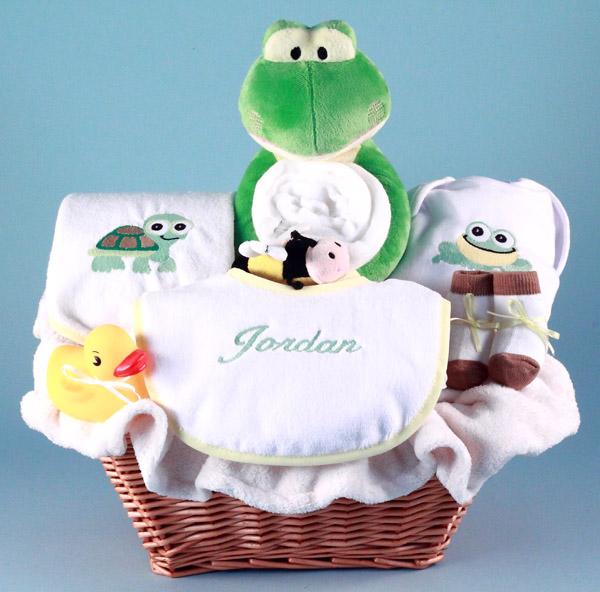 personalized baby gift basket frog pals by silly phillie