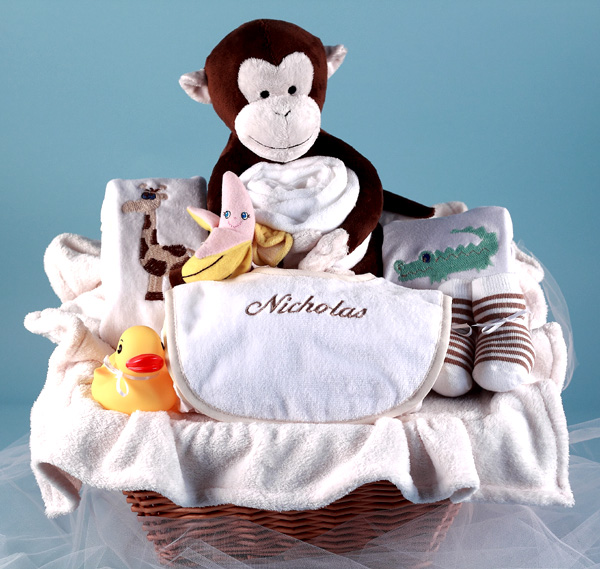Personalized baby gift basket the playful monkey silly phillie personalized baby gift basket monkey pals negle Gallery
