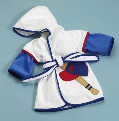 Baby Boy Gift- Baseball Hooded Bathrobe by Silly Phillie