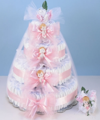 Deluxe diaper cake delight baby girl gift by silly phillie deluxe diaper cake delight baby girl gift negle Choice Image