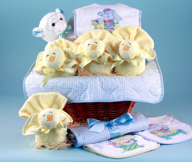 Easter baby gift basket baby boy gift by silly phillie baby gift basket for easter holiday filled with three little chicks made of washcloths bibs and lamb plush toy negle Gallery