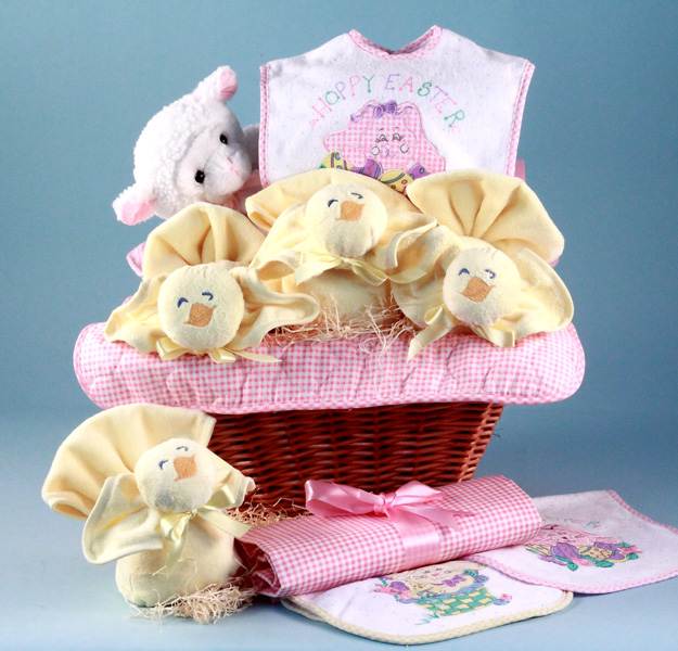 Easter baby gift basket baby girl gift by silly phillie easter baby gift basket is filled with holiday inspired items for baby including a baby blanket bib and more negle
