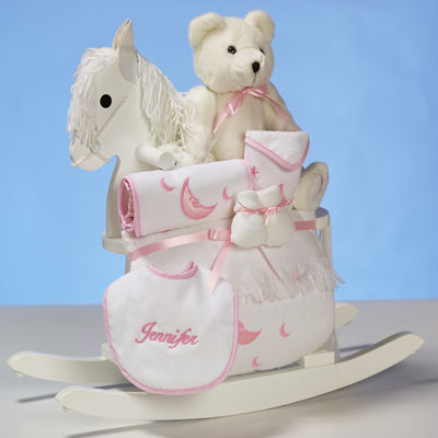 Baby girl gift personalized rocking horse gift set by silly phillie keepsake rocking horse personalized baby girl gift set negle Image collections