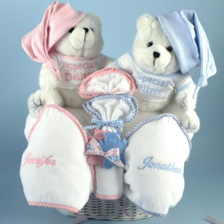 Gift for twins special delivery baby basket by silly phillie personalized baby gift basket for twins with baby blankets negle Choice Image