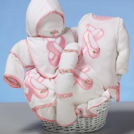 624c0655397ab Ballent Slippers themed Baby Gift Basket filled beautiful layette items for newborn  baby girl with