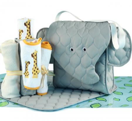 Newborn baby gift elephant diaper tote gift set elephant diaper tote baby gift set negle Images