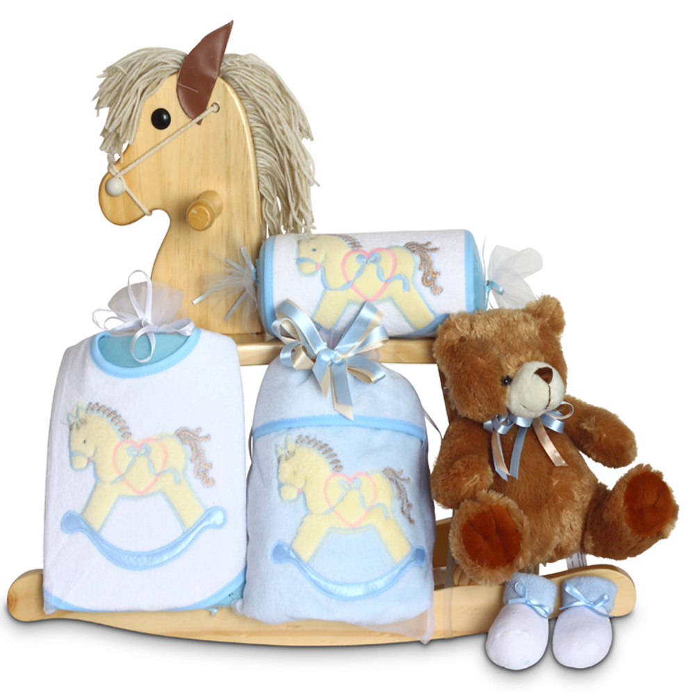 Personalized Baby Gift Baskets Rocking Horse : Natural rocking horse baby boy gift by silly phillie