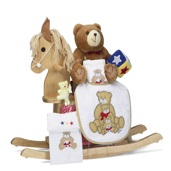 Natural rocking horse baby gift unique baby gifts personalized natural rocking horse baby shower gift set negle Gallery