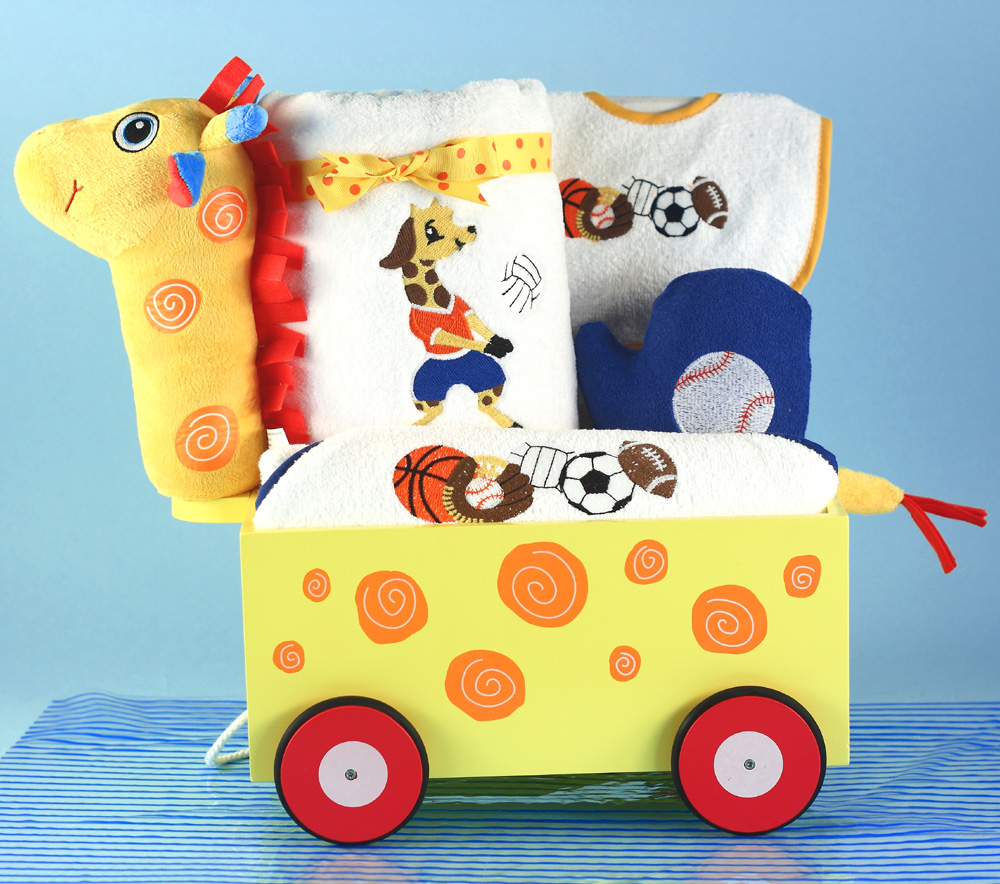 unique baby boy gifts  silly phillie - little sport giraffe wagon baby boy gift
