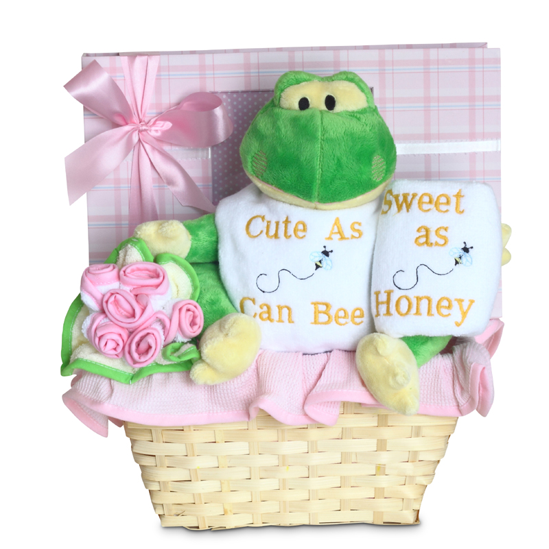 Forever baby book cute as can bee baby girl gift basket baby baby girl gift basket click to expand negle Choice Image