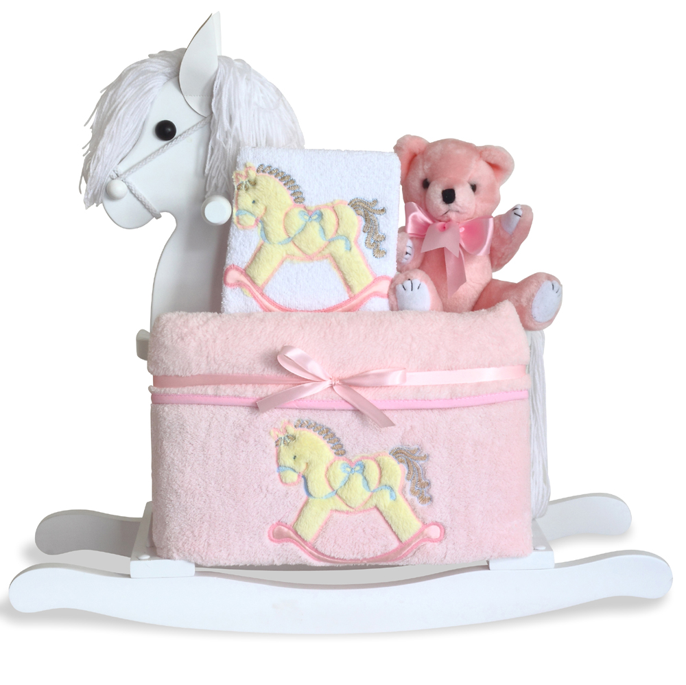 Personalized Baby Gift Baskets Rocking Horse : Baby girl gift set by silly phillie? classic white