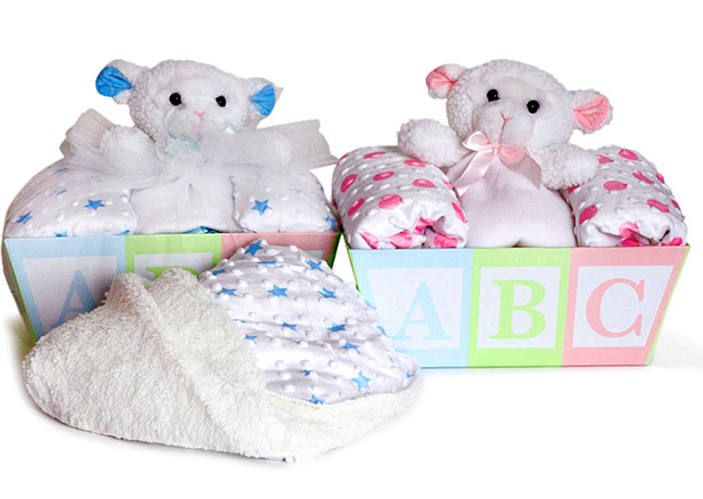 Baby blanket lovey gift basket from silly phillie baby blanket lamb lovey baby gift basket negle Images