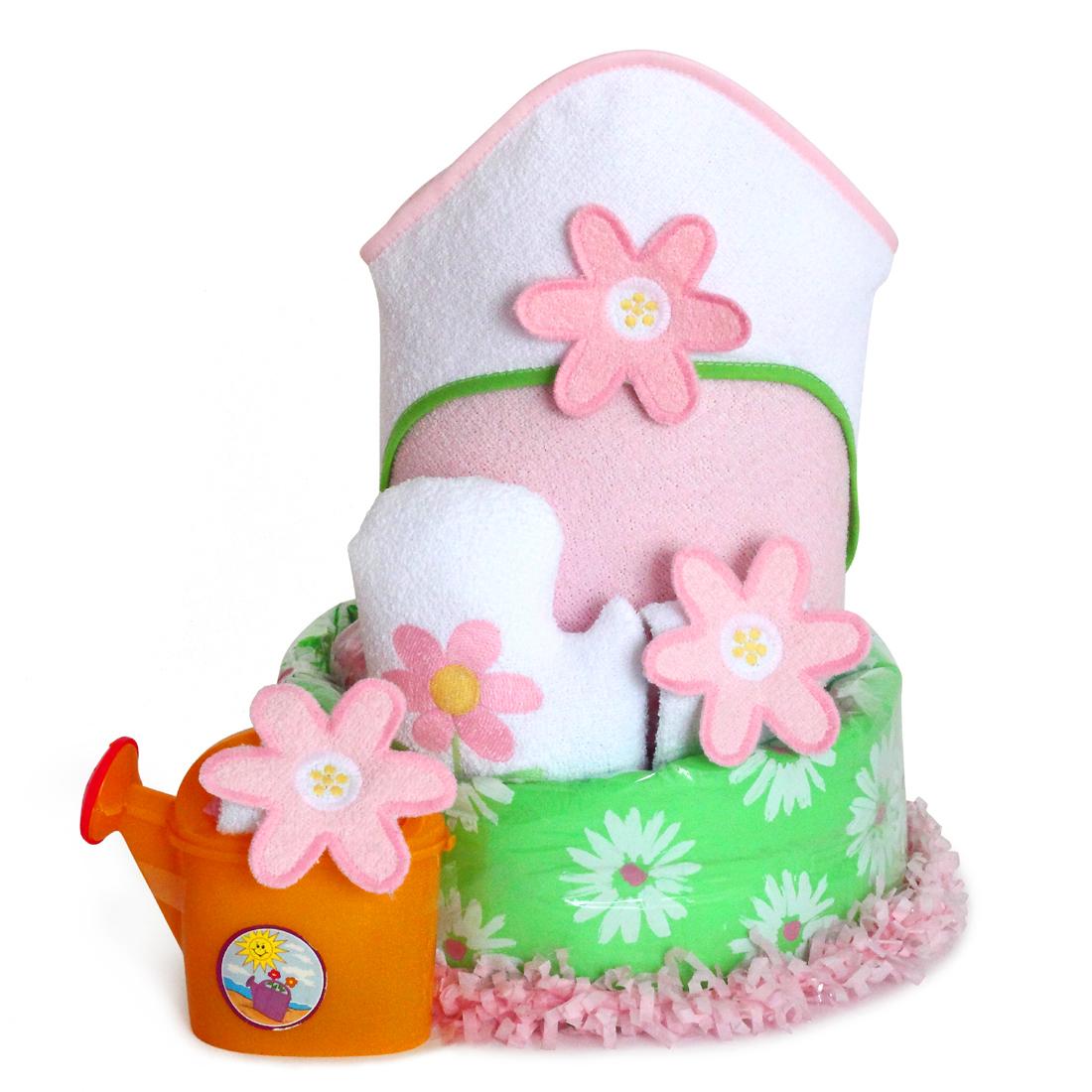 Flower Power Diaper Cake Baby Girl Gift