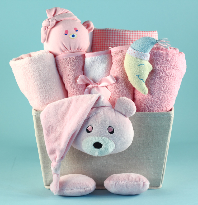 Unique baby girl gift basket made in the usa bear plush baby girl gift basket negle Image collections
