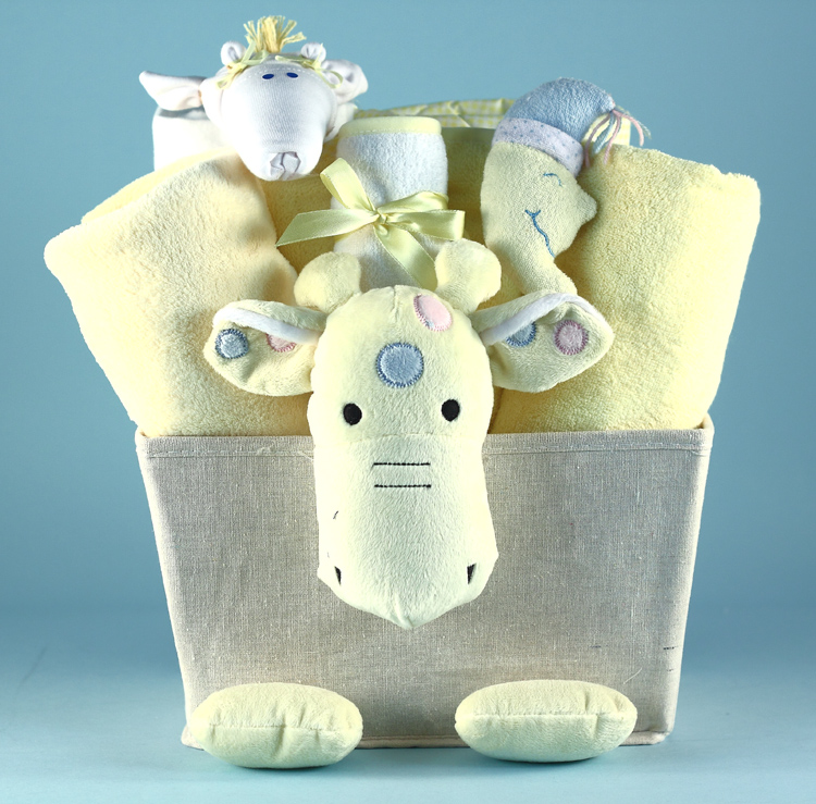 Giraffe Plush Baby Shower Gift Basket