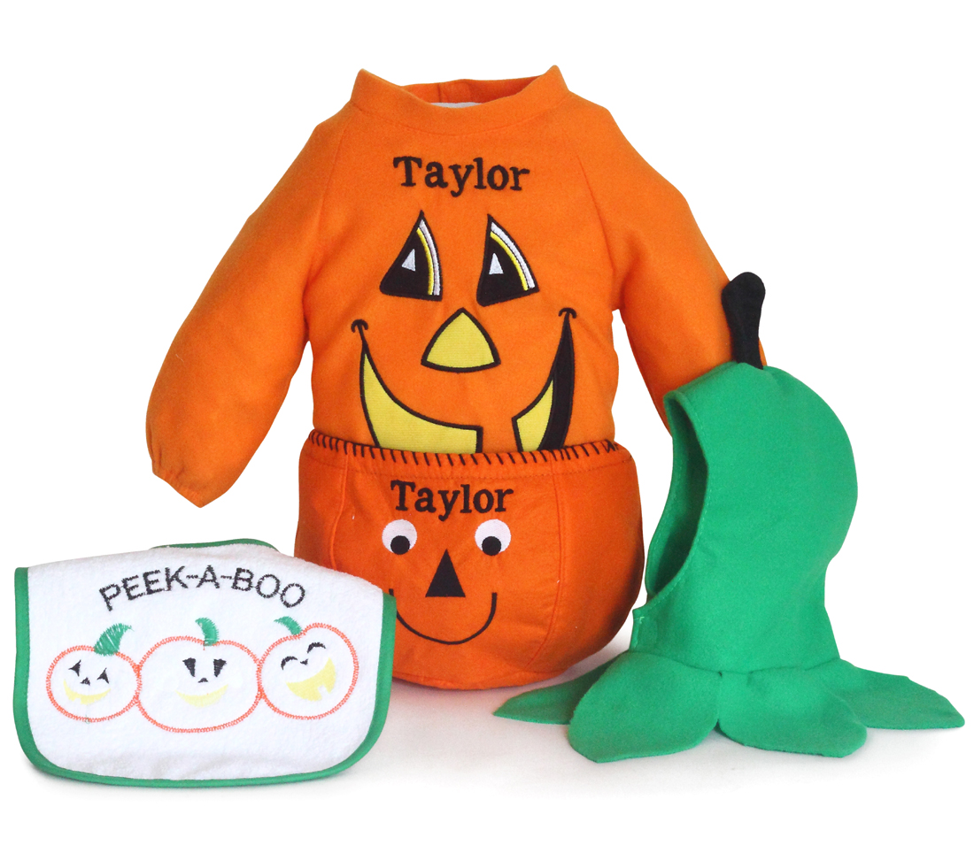 personalized pumpkin halloween costume gift set for babies by silly phillie