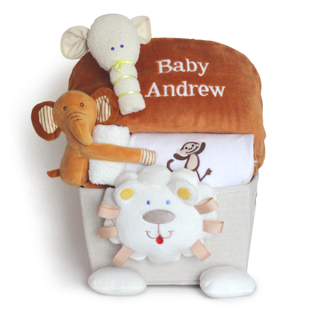 Baby gift baskets unique baby gifts by silly phillie plush lion personalized baby gift basket filled with layette negle Images