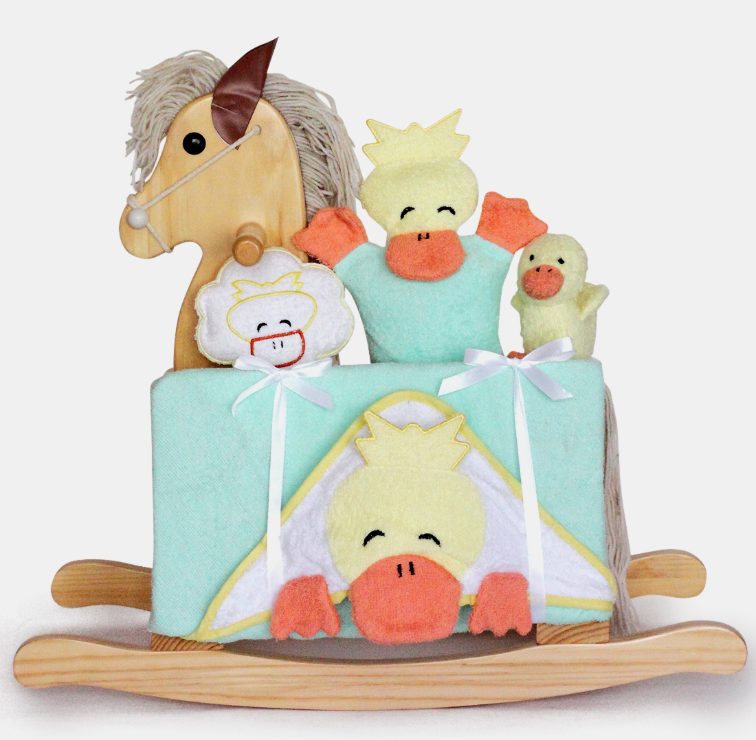 Personalized Baby Gift Baskets Rocking Horse : Natural rocking horse unisex baby gift set by silly phillie