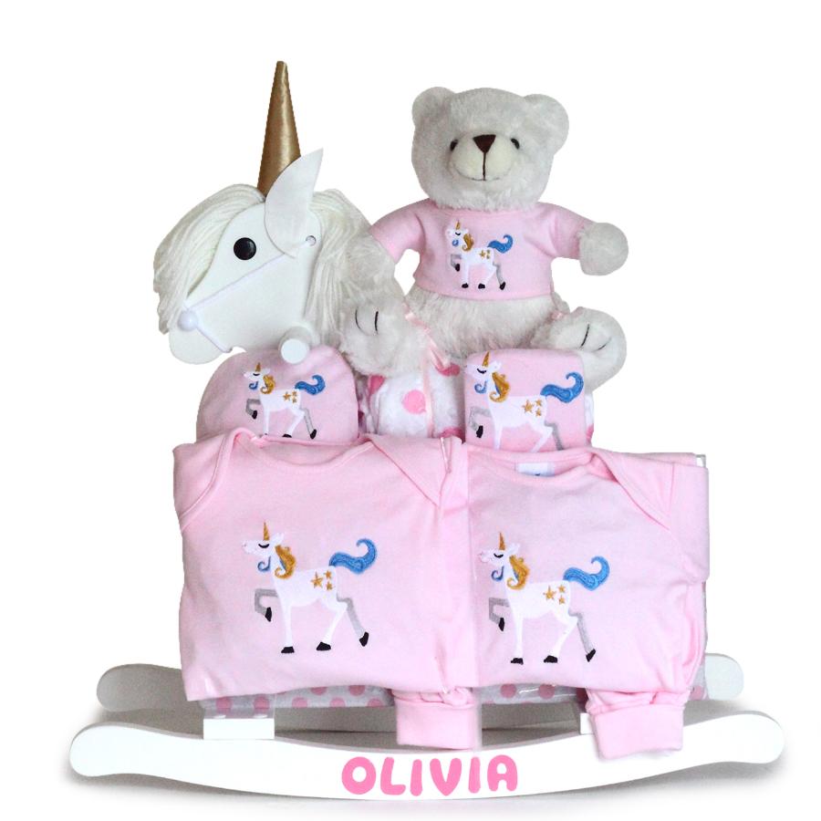 Personalized Unicorn Wood Rocker Baby Girl Gift Set
