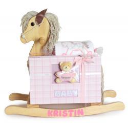 Rocking horse baby gifts silly phillie personalized rocking horse keepsake photo album baby girl gift set negle Gallery