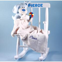 Personalized Rocking Chair Baby Gift with Baby Blanket & plush toy