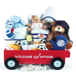 Deluxe Welcome Wagon Baby Boy Gift with 100% cotton layette items