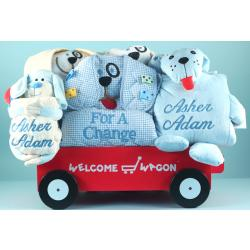 Deluxe Personalized Puppy Welcome Wagon Baby Boy Gift