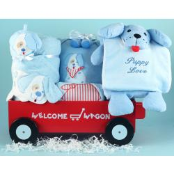 Baby Boy Gift: Deluxe Welcome Wagon with puppy themed layette