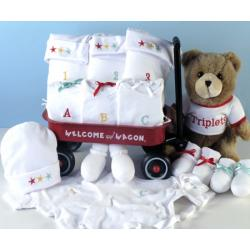 Triplets Welcome Wagon Baby Gift with Layette items & plush bear