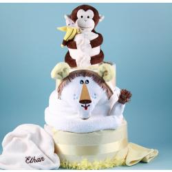 Lion King Personalized Diaper Cake Baby Gift with baby blanket,hooded towel,diapers & more.