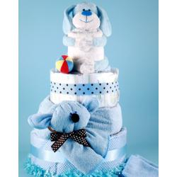 Deluxe Diaper Cake Baby Gift featuring Puppy Pal Plush Animal,Baby Blanket, & more
