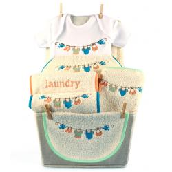 Baby Gift Basket with unisex laundry themed layette for newborn baby