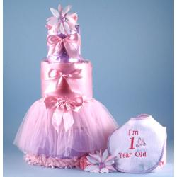 1st Birthday Diaper Cake baby gift for girls featuring  satin & tulle Tutu