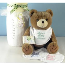 Baby Shower Gift with baby blanket,plush bear, personalized baby bib